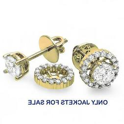 0.25 CT 14K Gold Round Diamond Removable Jackets for Stud Ea