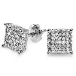 0.50 Carat  Sterling Silver White Diamond Ice Cube Mens Stud