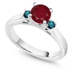 1.20 Ct Round Red Ruby Blue Diamond 925 Sterling Silver 3-St