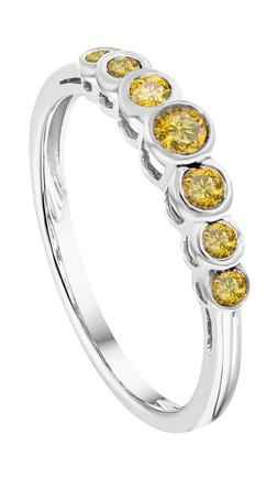 Prism Jewel 1/4 Carat Yellow Color Diamond 7-Stone Ring