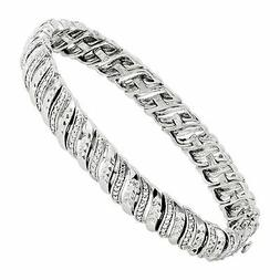 1/4 ct Diamond Tennis Bracelet in Sterling Silver-Plated Bra