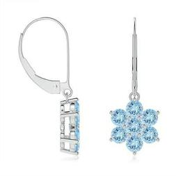 Angara 1.4ct Round Aquamarine Floral Cluster Dangle Earrings