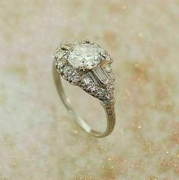 1.86 Ct. Round Cut Diamond Vintage Engagement Ring In 14k Wh