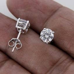 1 CT DIAMOND ROUND CUT 10K REAL WHITE GOLD SOLITAIRE STUD EA