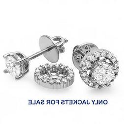 14k Round Diamond Removable Jackets for Stud Earrings 1/4 CT