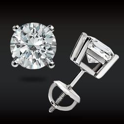 2.00 CT Round Earrings 14K Solid White Gold Basket Studs Bri