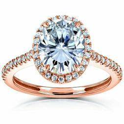 Kobelli 2-1/4ct TCW Moissanite and Diamond Oval Halo Ring So