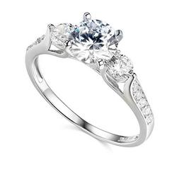 2.25 Ct Round Cut 3-Stone Engagement Wedding Ring Real Solid