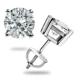 3.0 CT ROUND BRILLIANT CUT BASKET SCREW BACK EARRINGS SOLID