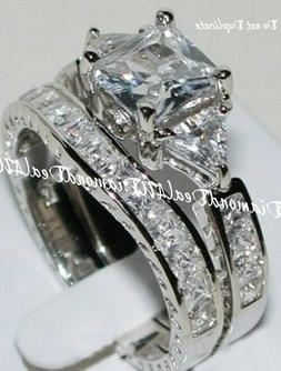 3CT Princess cut Diamond Engagement Ring Wedding Set 14k Whi