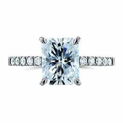 Kobelli 3CTW Radiant F-G Moissanite and Diamond Engagement R