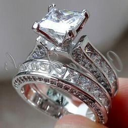 4.23ct Princess cut Diamond Engagement Ring Wedding Band Sol