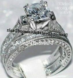 4CT Princess cut Diamond Engagement Ring Wedding Set 14k Whi
