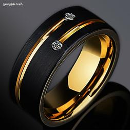 8mm Black Brushed Tungsten Ring Gold Grooved Line Diamond AT