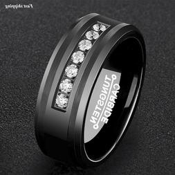 8Mm Black Tungsten Carbide Ring Diamonds Inlay Comfort Fit A