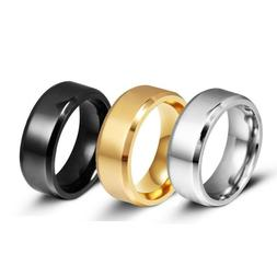 8MM Stainless Steel Ring Band Titanium Black Men's SZ 6 to 1