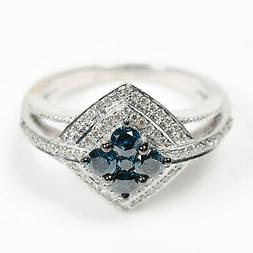 925 Sterling Silver 0.76ct Pave Diamond Wedding Engagement R