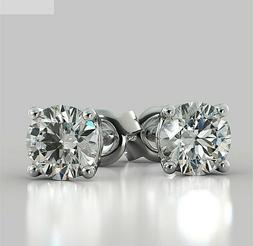Brilliant Round 2.00 Carat Solitaire Diamond Earrings Stud S