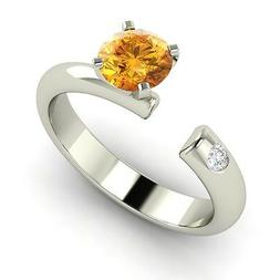 Certifed Natural Citrine Ring in 14k White Gold with SI Diam