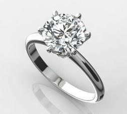 Certified 3.75 CT Round Cut Diamond Engagement Ring in Solid