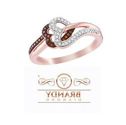 chocolate brown 10k rose gold heart of
