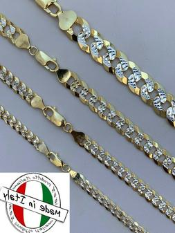 Cuban Link Chain 14k Gold & Solid 925 Silver Two Tone Diamon