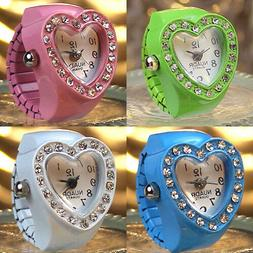 Finger Ring Watch Heart Diamond Embellished for woman Fashio