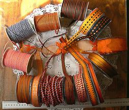 HALLOWEEN Ribbons ORANGE BLACK 15 Mix Widths 3Met Length May