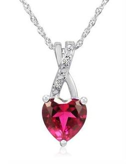 Heart Shaped Lab Grown  Ruby and Diamond Pendant-Necklace in