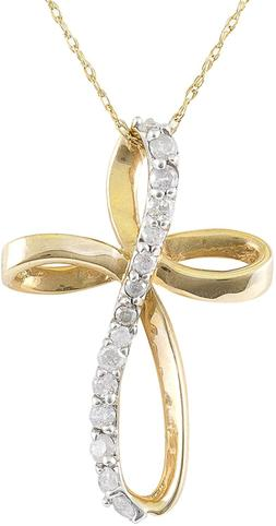 JewelExclusive 10K Yellow Gold 1/4cttw Natural Round-Cut Dia