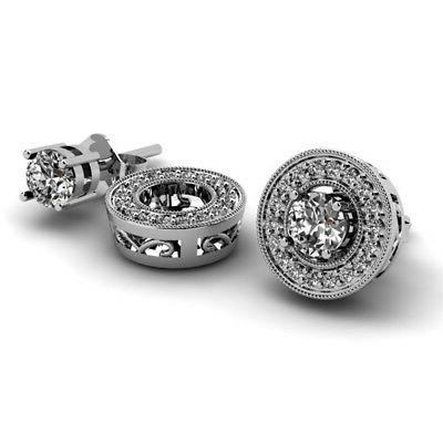 0.25 White Gold Removable Jackets for Earrings