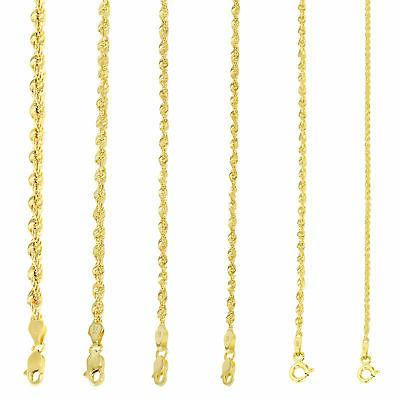 10k Yellow Gold 2mm D-Cut Rope Chain Necklace 8 16 18 20 22 24 /& 26 Available