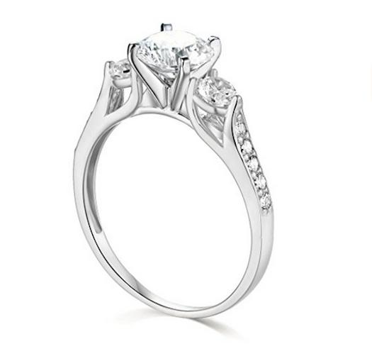 2.25 Ct Cut 3-Stone Wedding Ring Real Gold