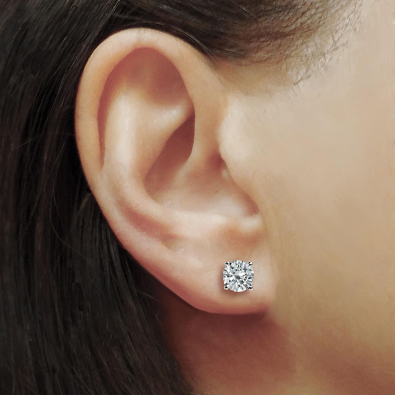 2.00 CT Round Earrings 14K Solid Basket Brilliant Back