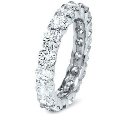 3 Round Eternity Ring White Gold Stackable Band