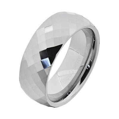 8mm diamond faceted shiny tungsten band men