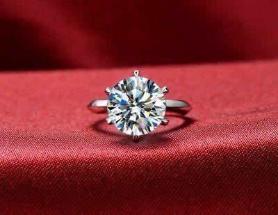 Certified 3.87CT Round Diamond 6 Prong Solitaire Ring 14K Gold