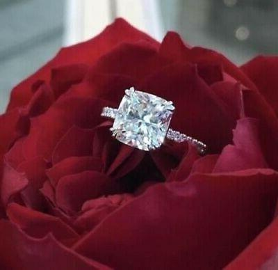 Certified 3CT Cushion Diamond Solitaire Wedding Engagement R