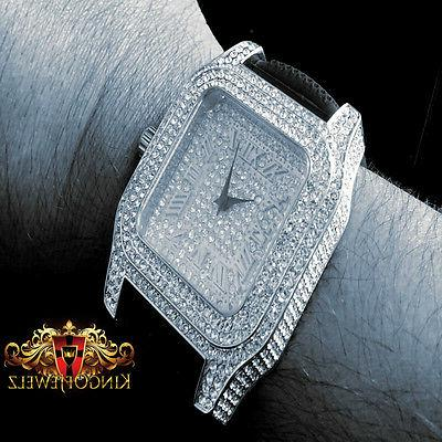 MEN'S FULLY ICY WHITE GOLD LAB WATCH