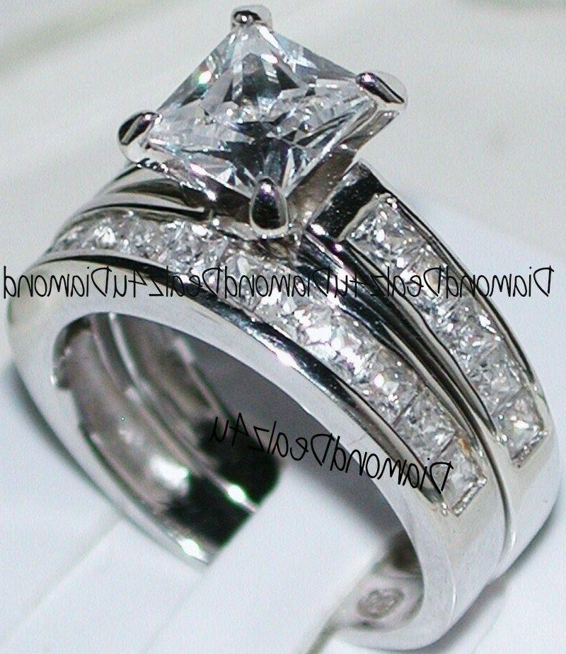 princess cut diamond engagement ring bridal band