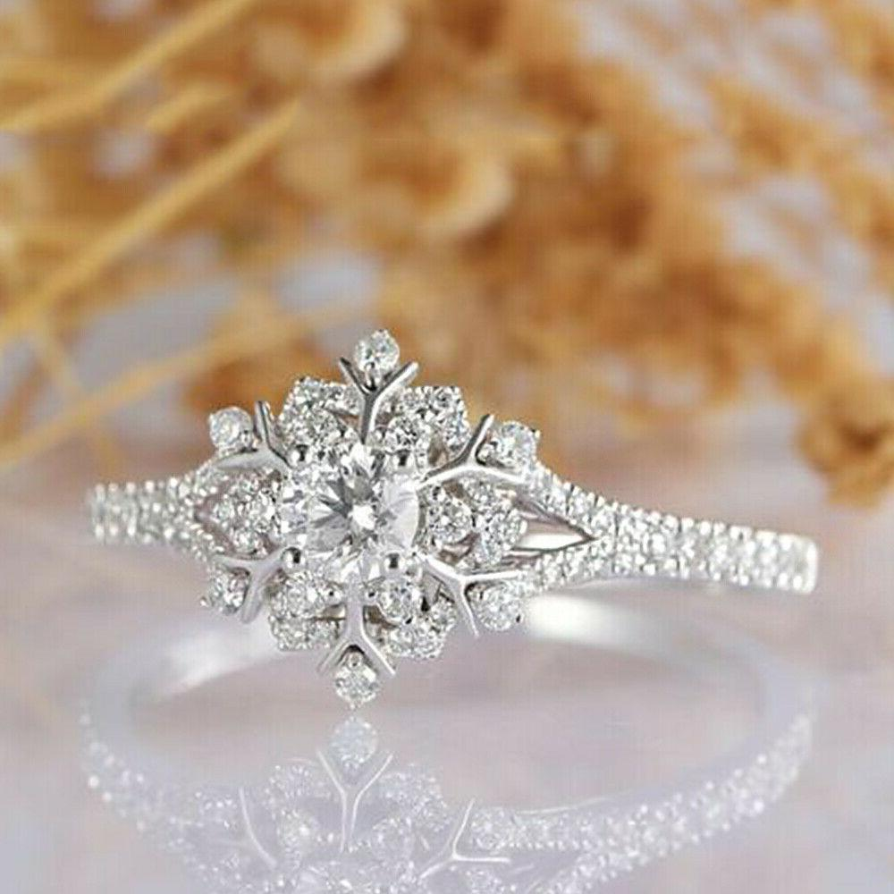 Real White Gold 2.20Ct Round Vintage Snowflake Engagement