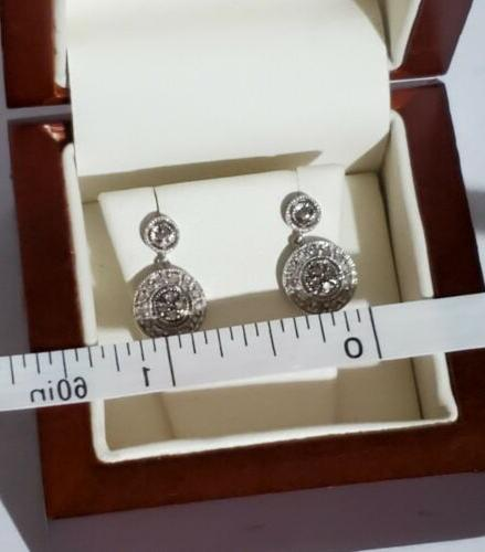 Sterling Silver White Micro Pave Drop Dangle Stud Earrings, 925.
