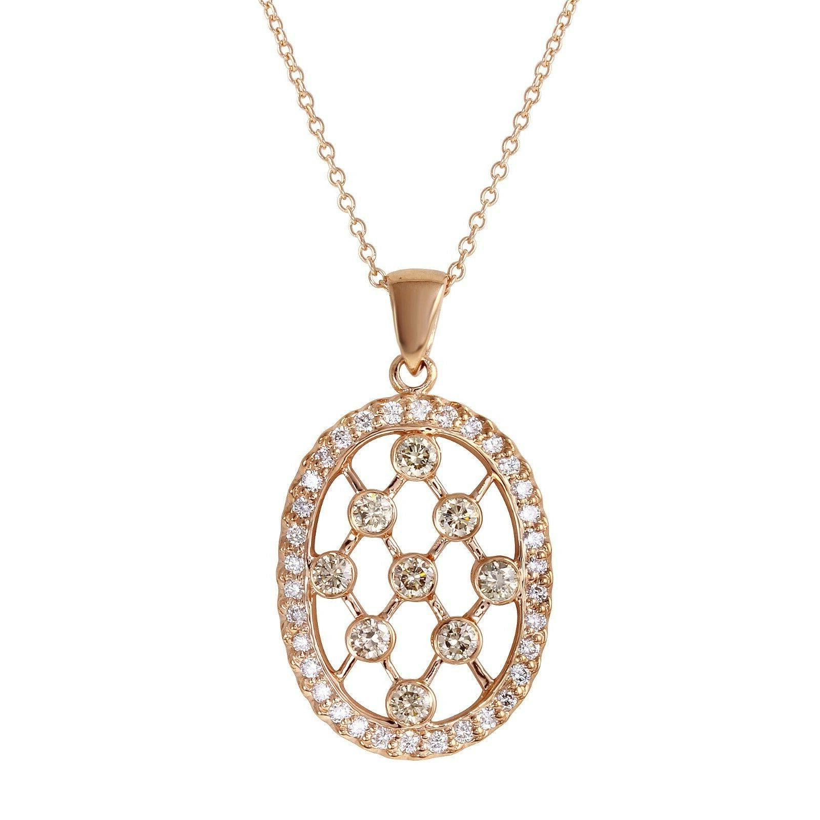 women s oval shaped pendant with brown