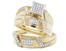 Ladies/Mens 10K Yellow Gold Diamond Square Top Trio Set Enga