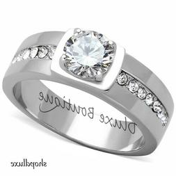 MEN'S 1.75 CT ROUND CUT SIMULATED DIAMOND SILVER STAINLESS S