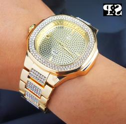 Men's Luxury Designer Style Bling Gold finished Simulated Di