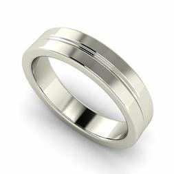 Men's Ring / Wedding Band in 14k Solid White Gold By Diamond