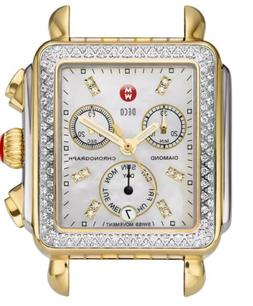NEW Michele Deco Womens TT Gold & Silver Diamond Dial Ladies