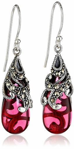 New Amazon Collection Sterling Silver 925 Marcasite Red Glas
