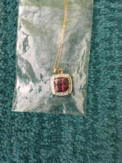 NEW !!! Ross Simons Synthetic Ruby & Cubic Zirconia Pendant/